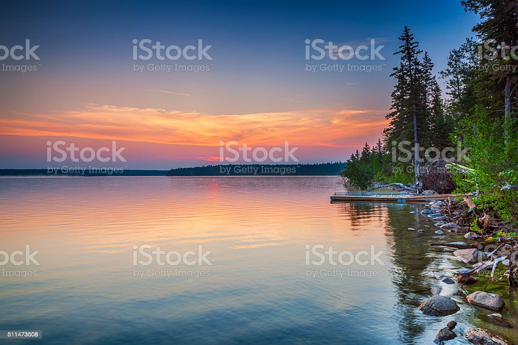Colourful Sunrise, Clear Lake Manitoba stock photo