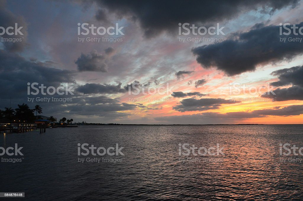 Colourful sunset in Florida Keys royalty-free stock photo