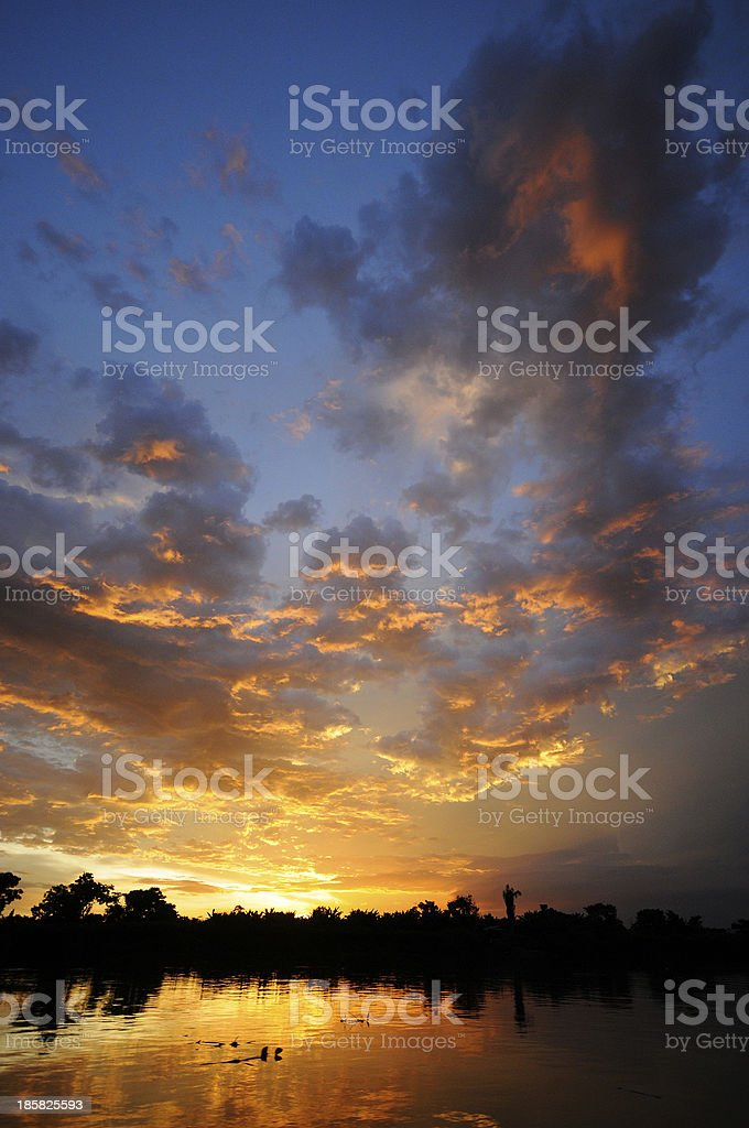 Colourful sunset on the Magdalena River, Colombia stock photo