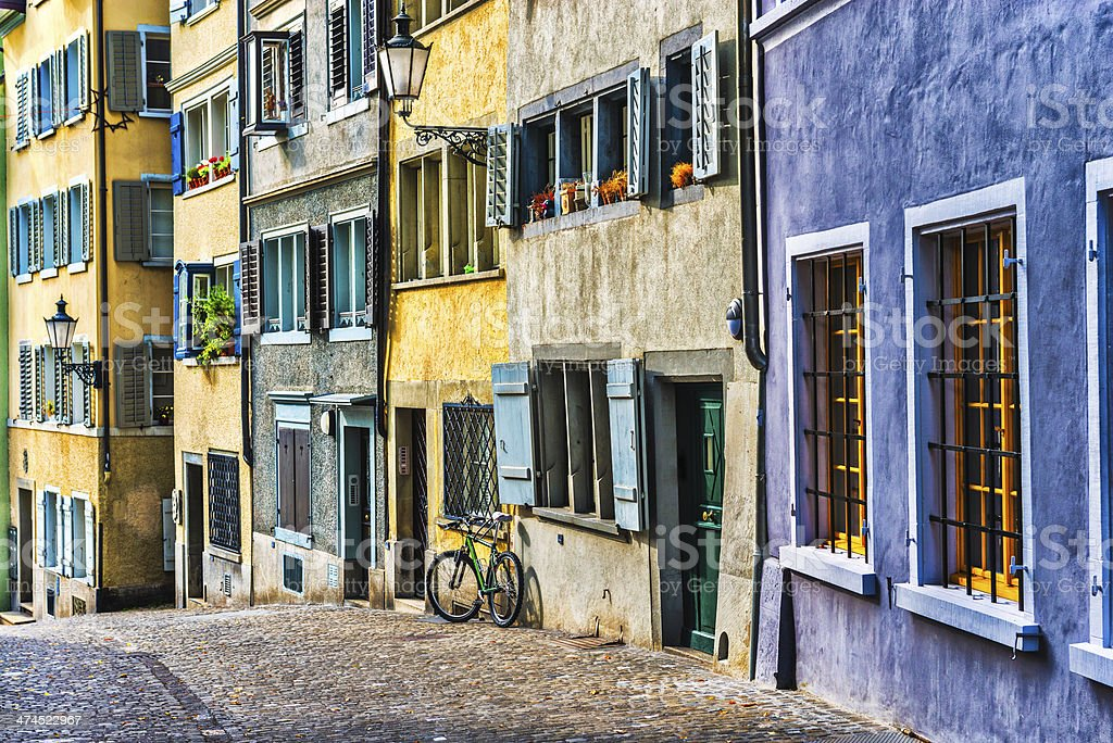 Colourful Swiss City Architecture on the Streets of Zurich stock photo
