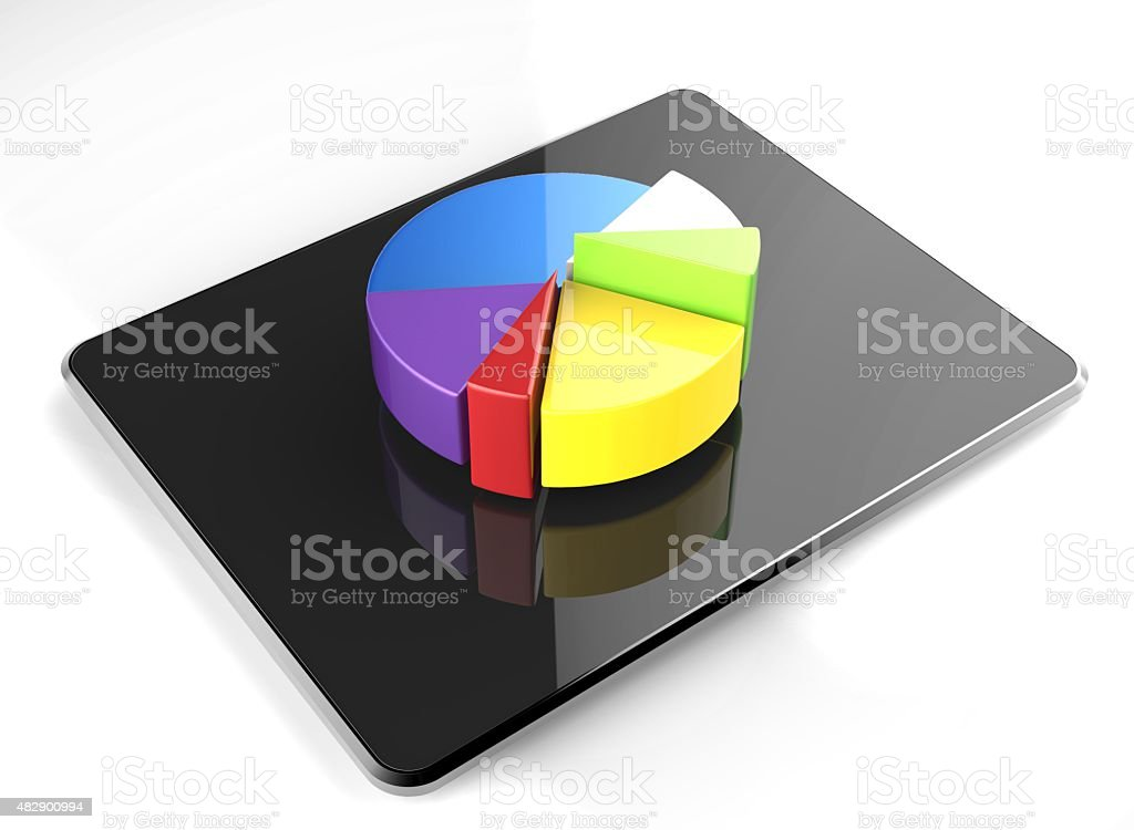 colourful tablet pie chart stock photo