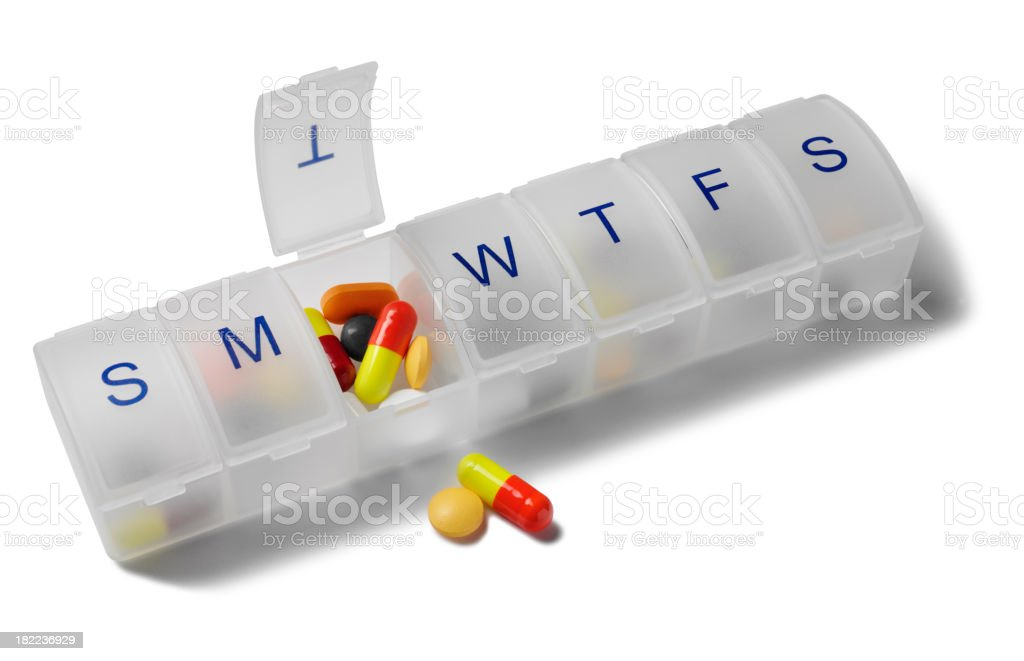 Colourful Tablets and Pill Box royalty-free stock photo
