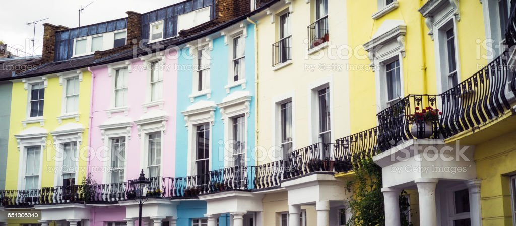 Colourful terraced houses in Hampstead, London stock photo