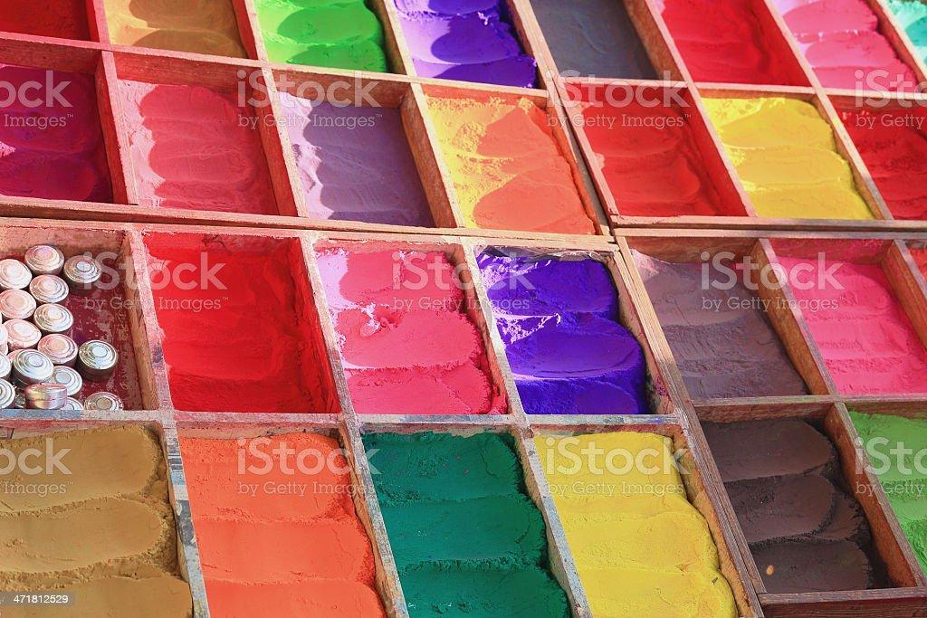 Colourful tika powder-Pashupatinath temple-Deopatan-Kathmandu-Nepal. 0299 stock photo