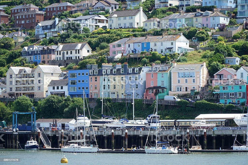 Colourful Town Houses in Kingswear, Devon stock photo