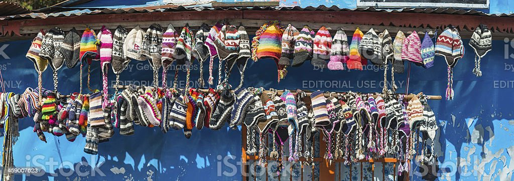Colourful traditonal Nepali hats in Himalayas royalty-free stock photo