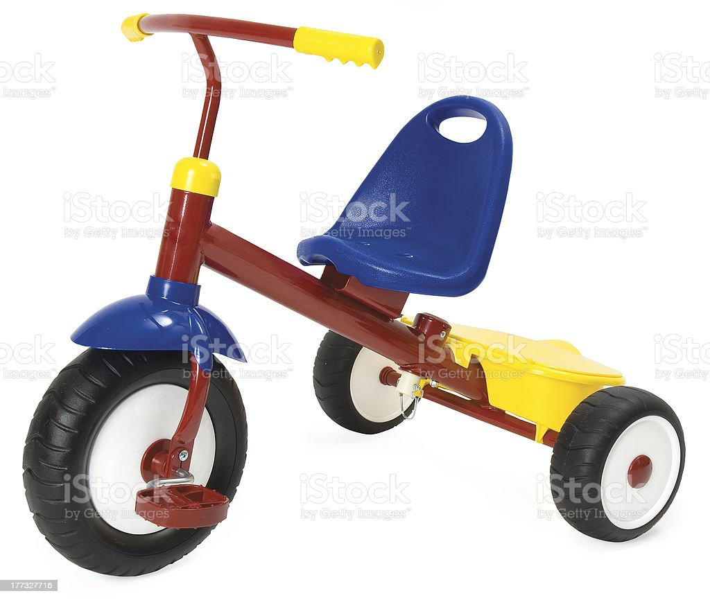 Colourful tricycle on a white background. Clipping path included. stock photo