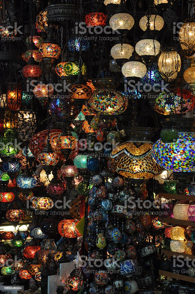 Colourful Turkish lamps in the Grand Bazaar stock photo
