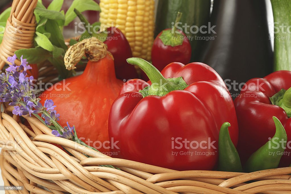 Colourful vegetables in the basket stock photo