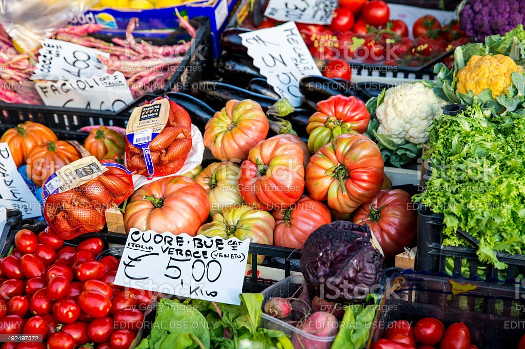 Colourful Vegetables in Venice Italy stock photo