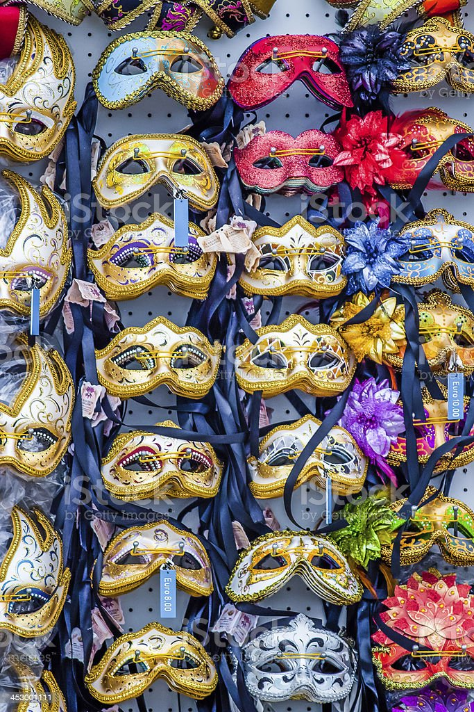Colourful Venetian carnival masks for sale in Venice, Italy. royalty-free stock photo