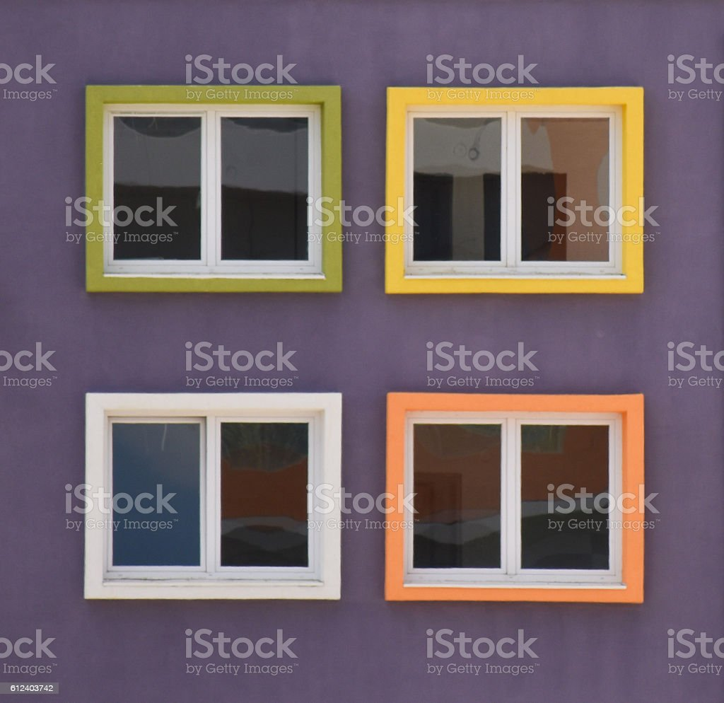 Colourful windows stock photo