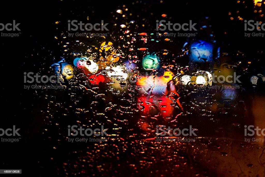 Colourful wintry rain. stock photo