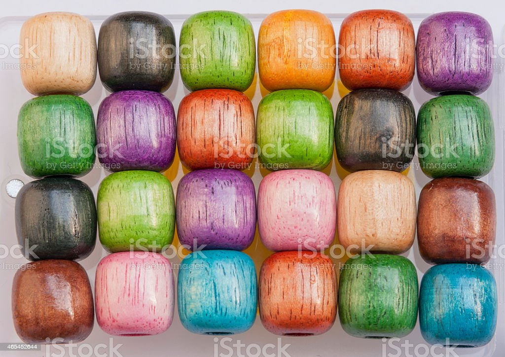Colourful wooden big beads royalty-free stock photo