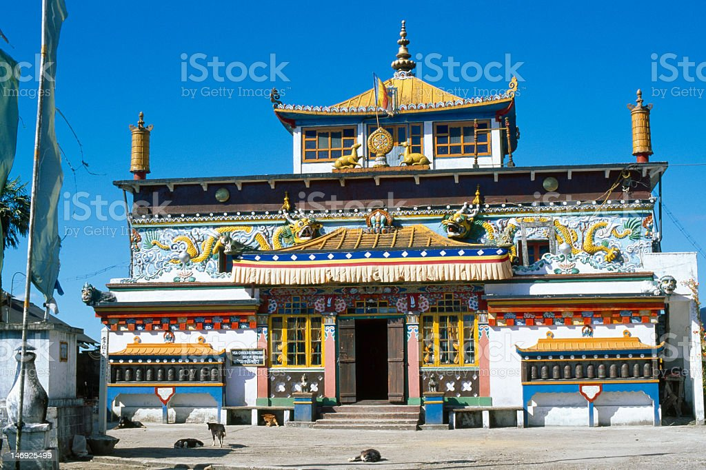 Colourful Yiga Choeling Monastery in Ghoom near Darjeeling, India stock photo