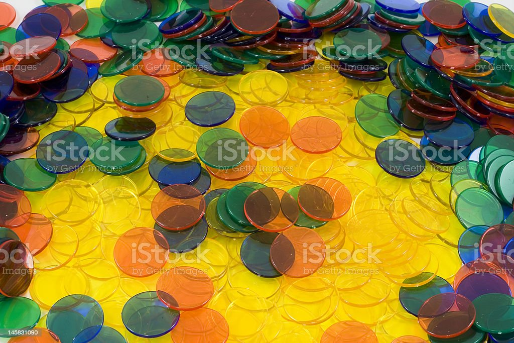 Colourfull Counters on a white background stock photo