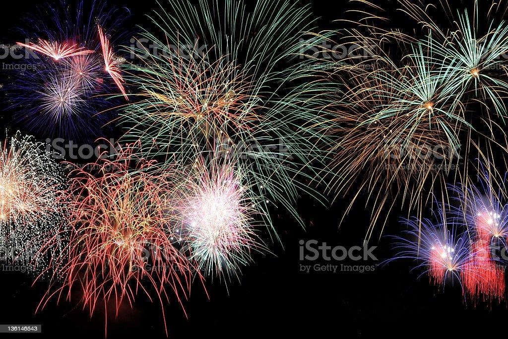 Colourfull fireworks stock photo