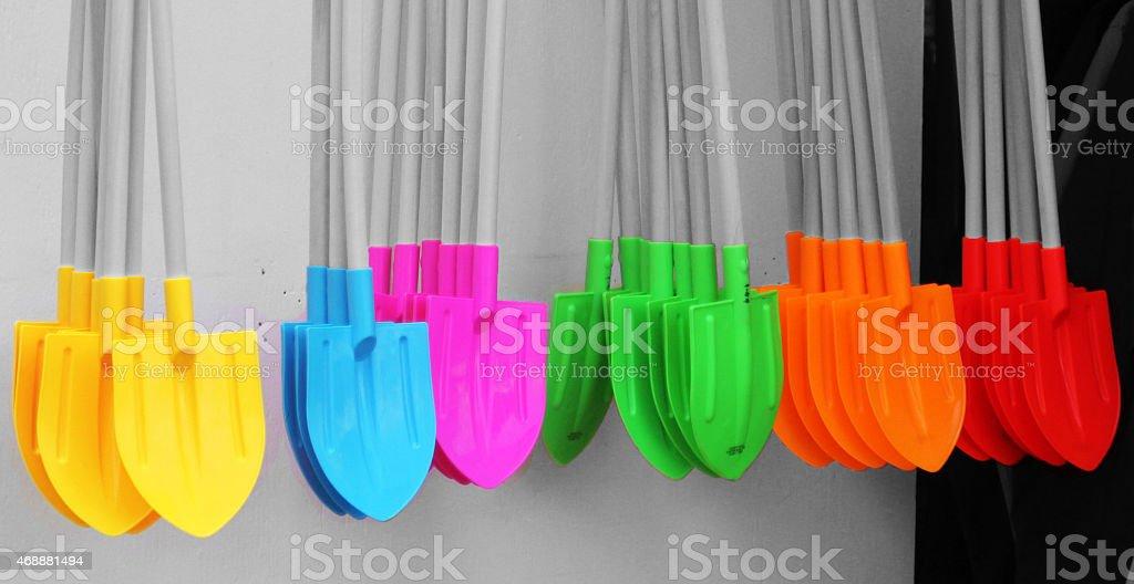 Colourfull Shovels stock photo