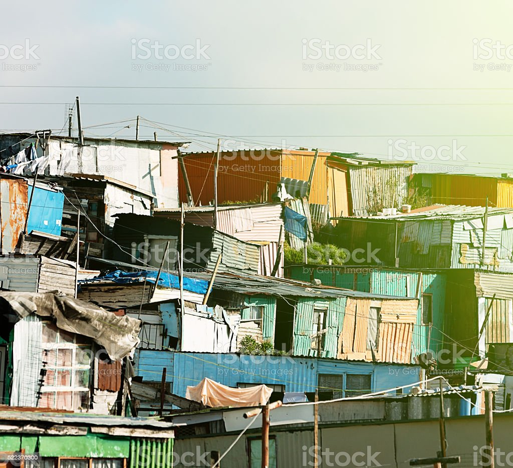 Colourfully painted Cape Town shacks stock photo