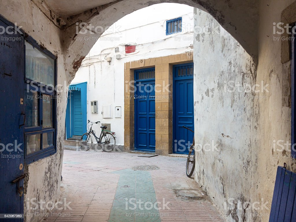 Colourfully painted door  in Morocco stock photo