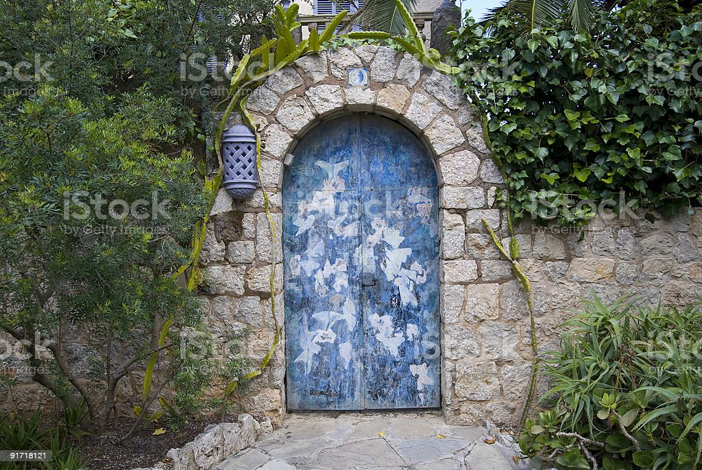 Colourfully patterned door, Pollensa, Majorca stock photo