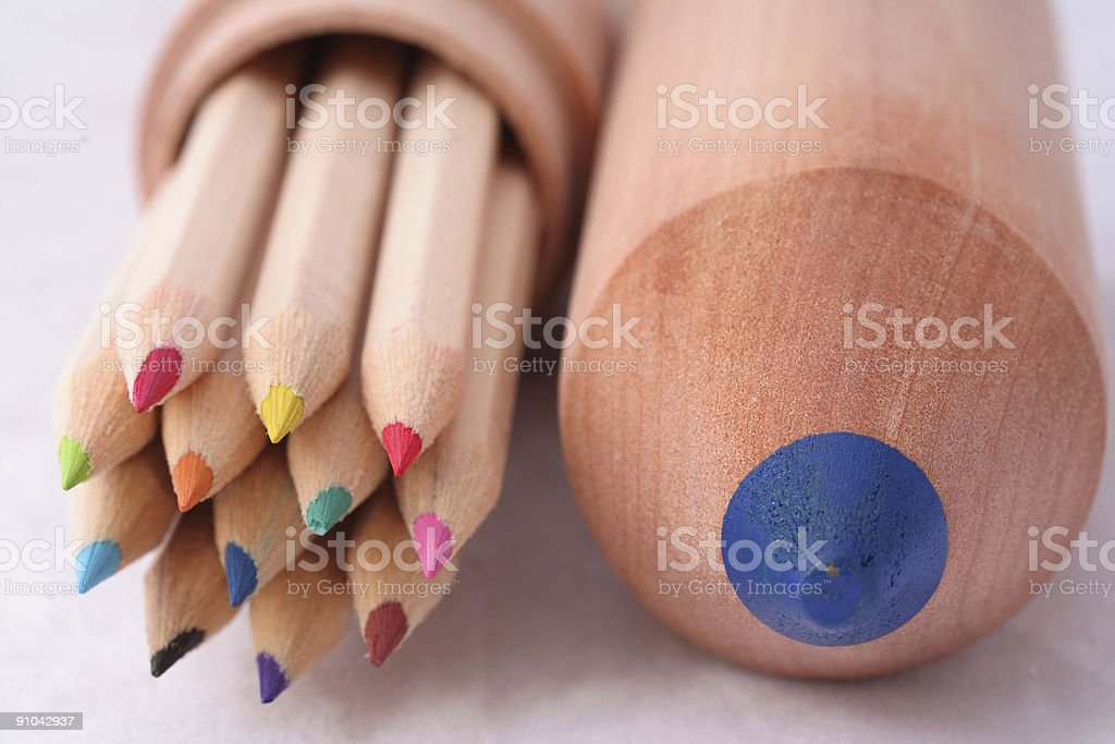 colouring pencils and case royalty-free stock photo