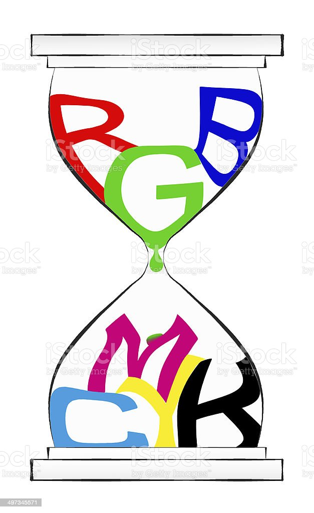 RGB & CMYK colours in a hourglass stock photo
