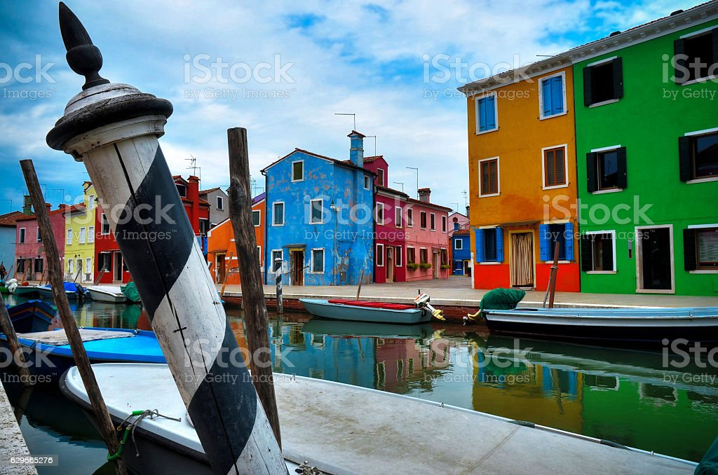 Colours of Burano, Venice stock photo