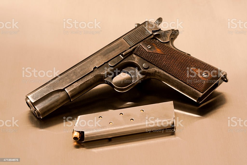 Colt 1911 With Loaded Magazine stock photo