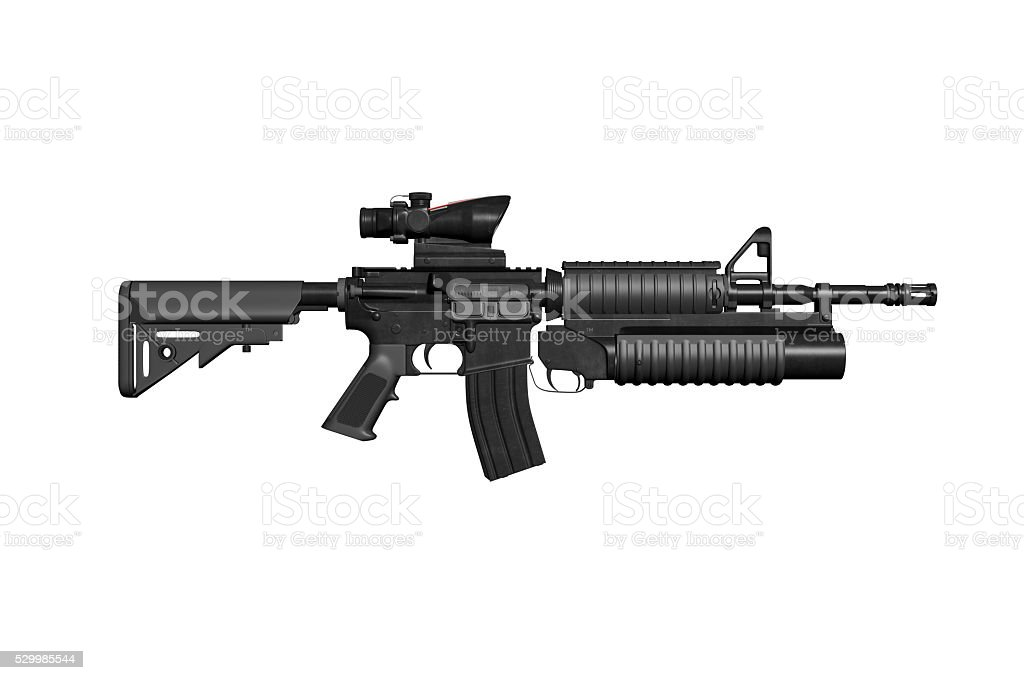 Colt M4a1 Carbine With ACOG Scope And M203 Grenade Launcher stock photo