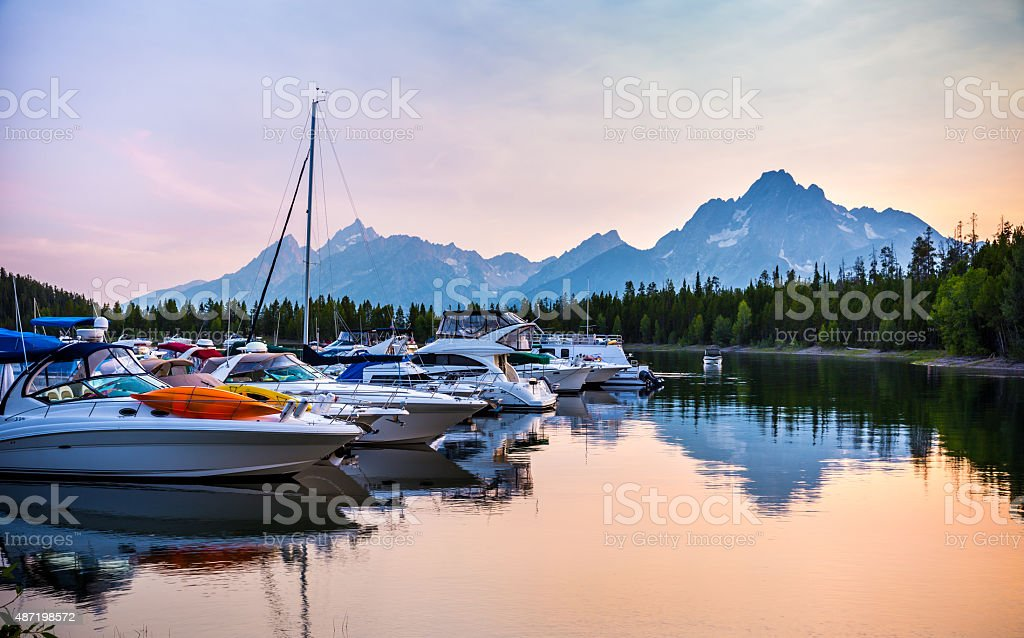 Colter Bay Village Marina stock photo