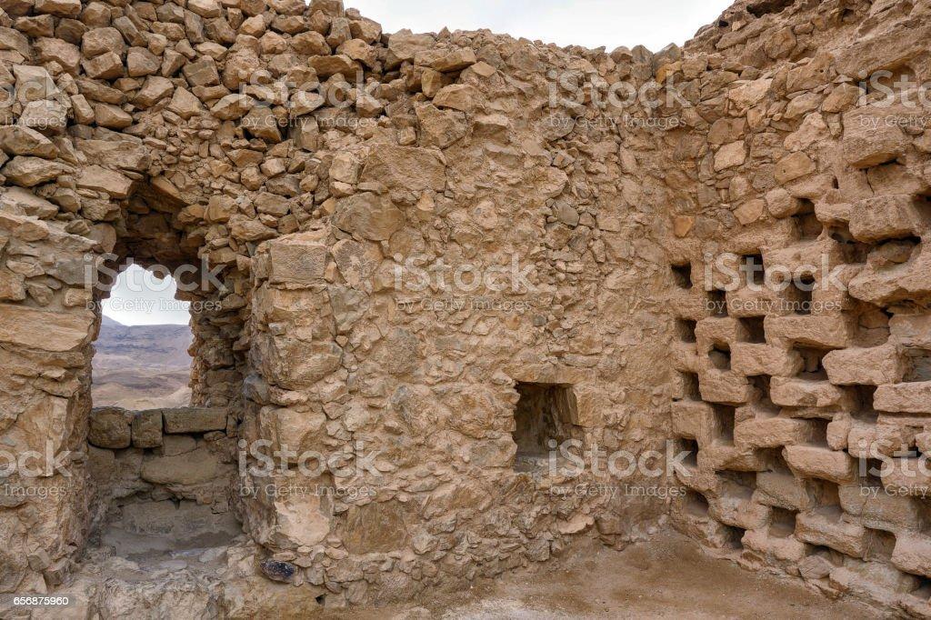 Columbarium Tower (Dovecote) at Masada, Israel stock photo