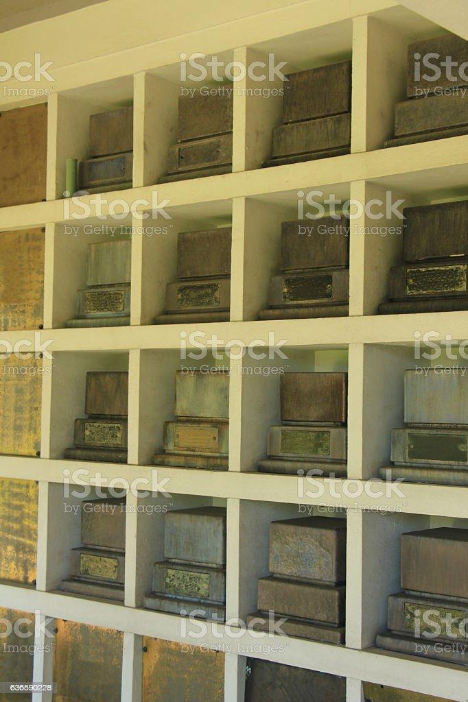 Columbarium wall near crematorium stock photo