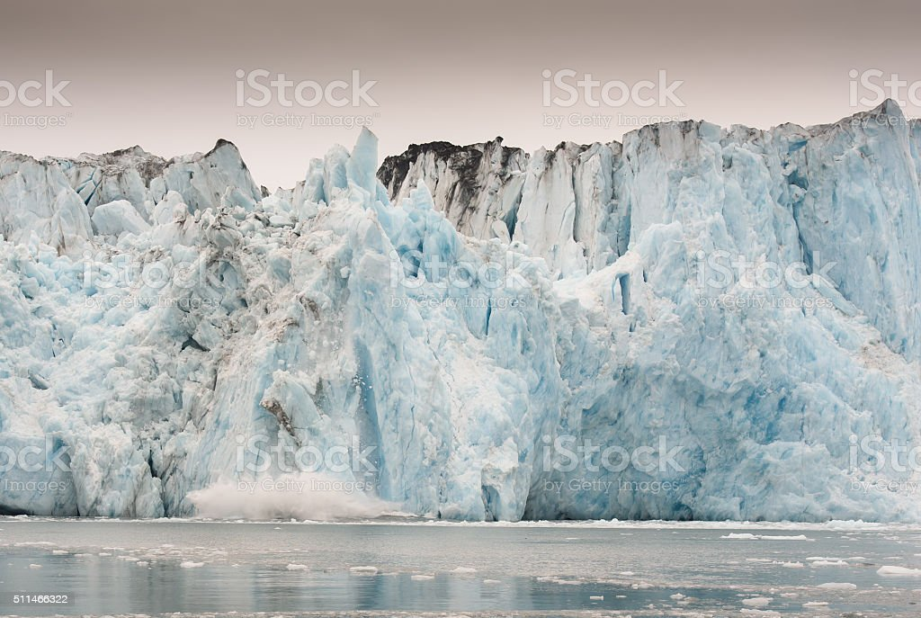 Columbia Glacier Calving in Alaska stock photo