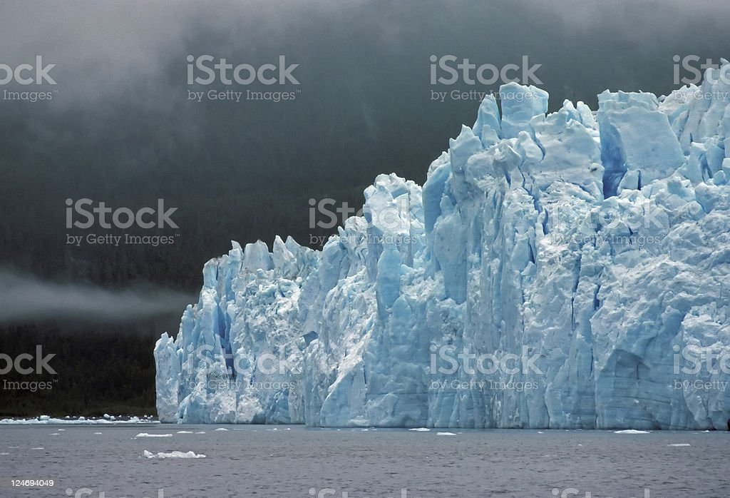 Columbia Glacier in ocean fog stock photo
