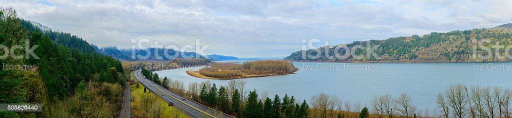 Columbia Gorge Panorama stock photo