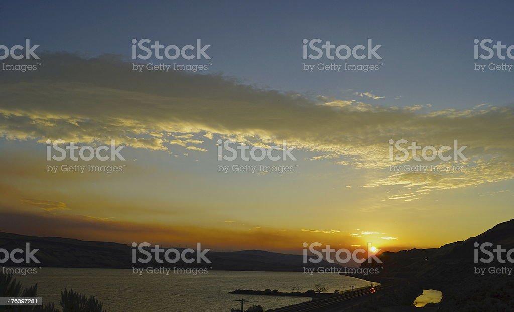 Columbia Gorge Sunrise stock photo