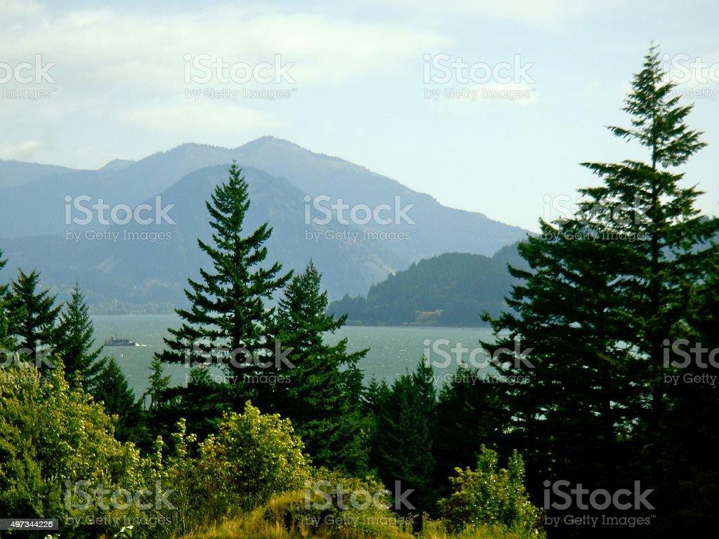 Columbia Gorge View toward Oregon stock photo