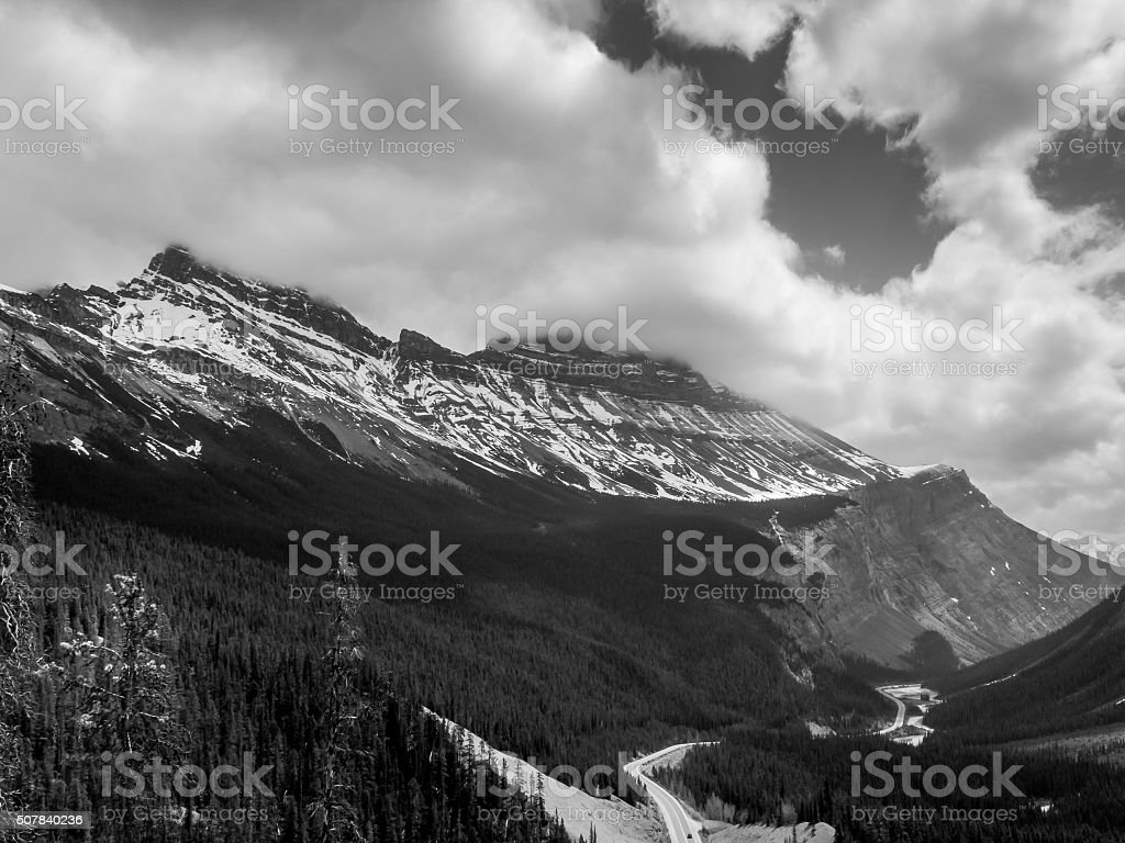 Columbia Icefield from Icefields Parkway stock photo