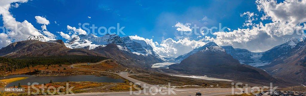 Columbia Icefield Panorama - Athabasca Glacier stock photo