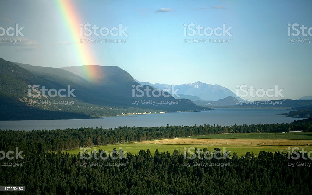 Columbia Lake BC Early Evening With Rainbow royalty-free stock photo