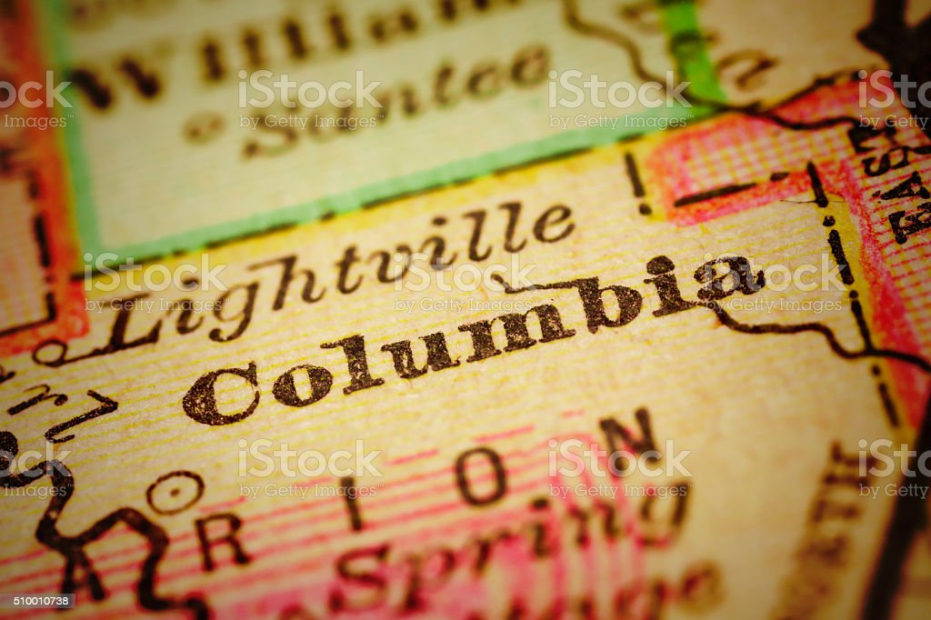 Columbia, Mississippi on an Antique map stock photo