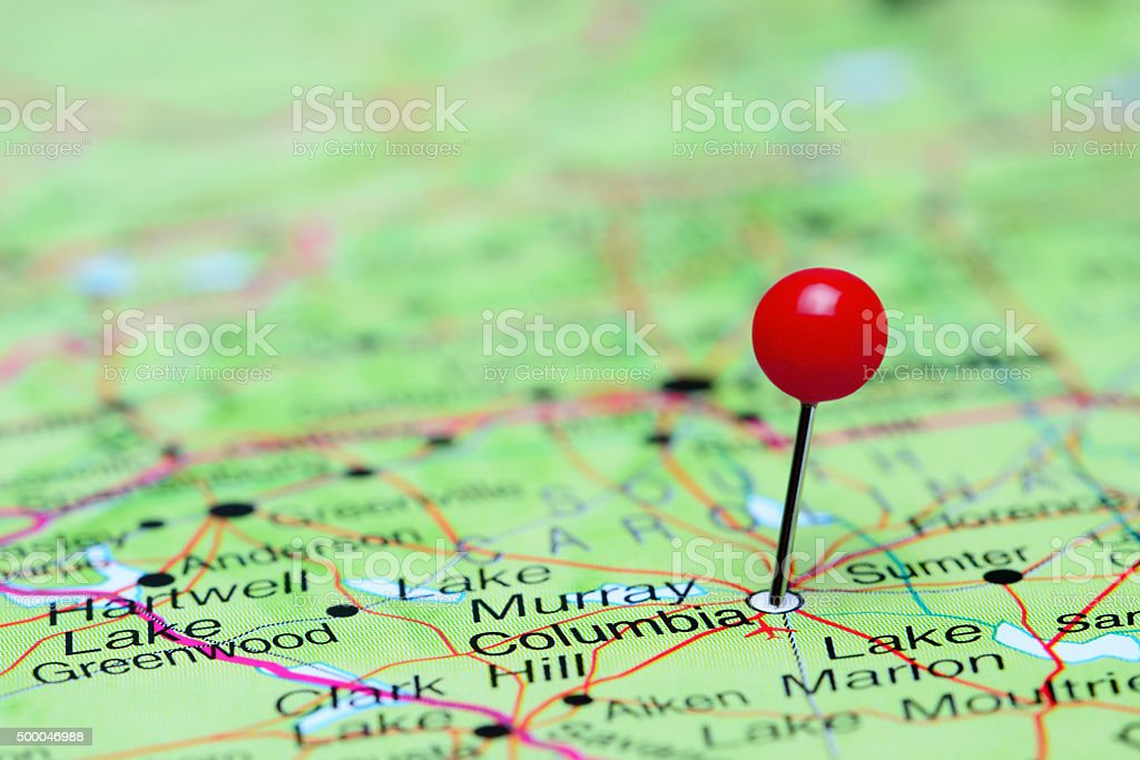 Columbia pinned on a map of USA stock photo
