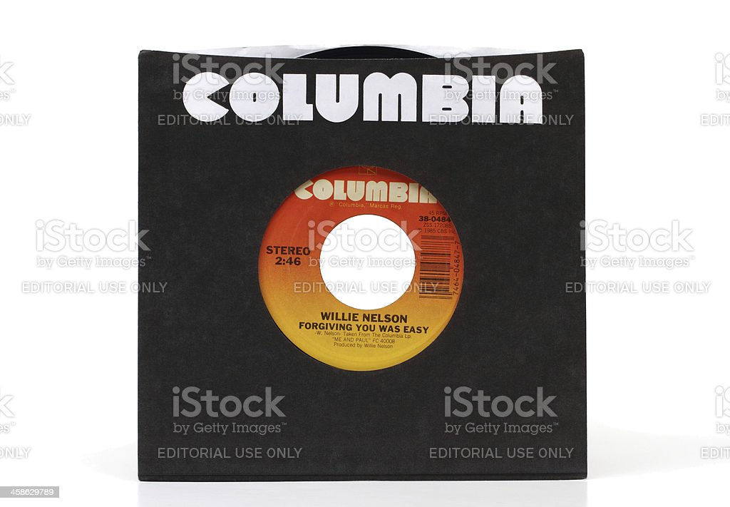 Columbia records 45 rpm recording of Willie Nelson stock photo