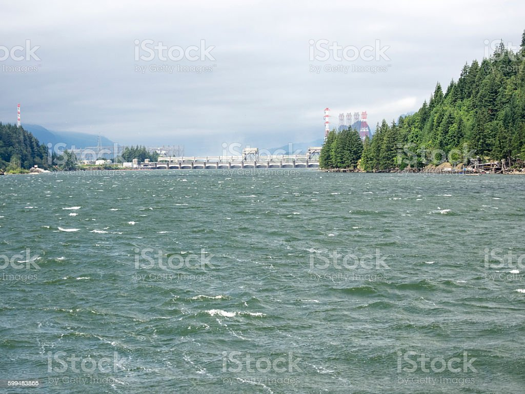 Columbia River Bonneville Dam Spillway from Upriver stock photo
