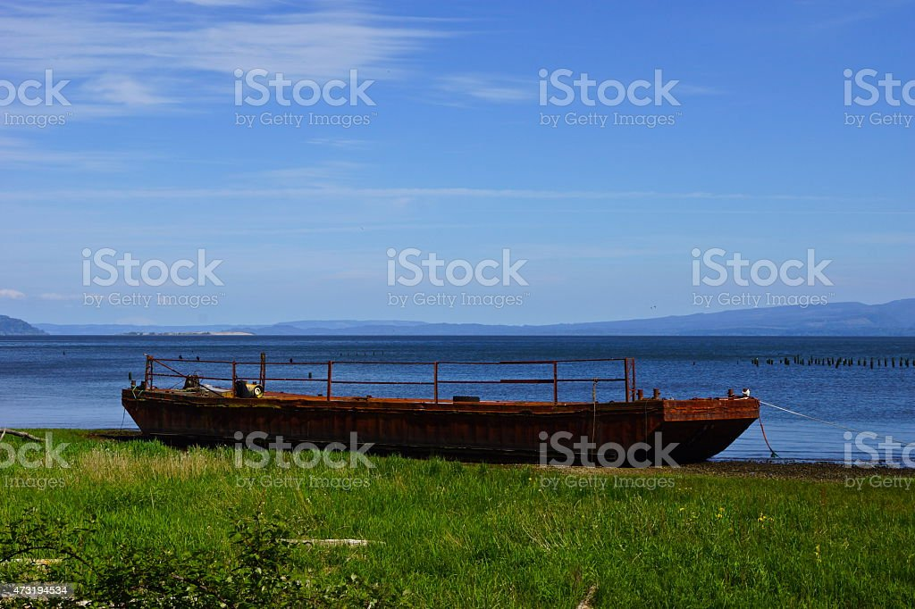 Columbia River Civil War Boat stock photo