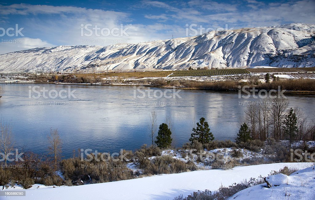 Columbia River Flows After Fresh Snow Winter Storm royalty-free stock photo