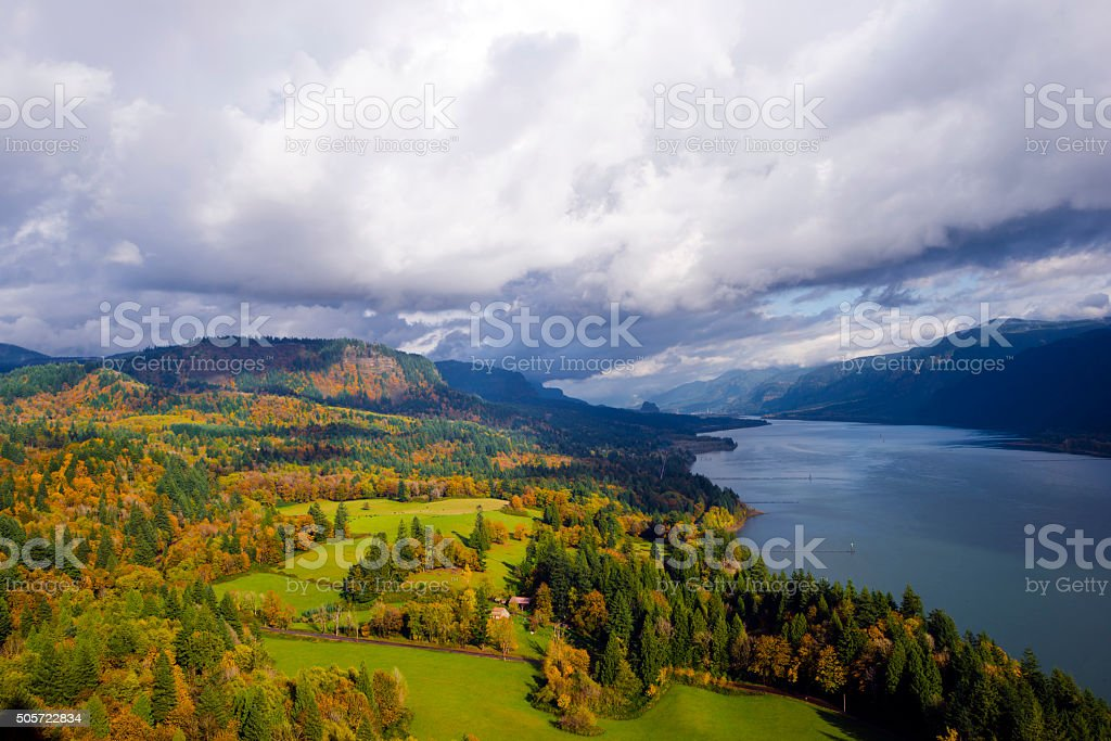 Columbia River Gorge Cape Lookout point of view autumn landscaping stock photo