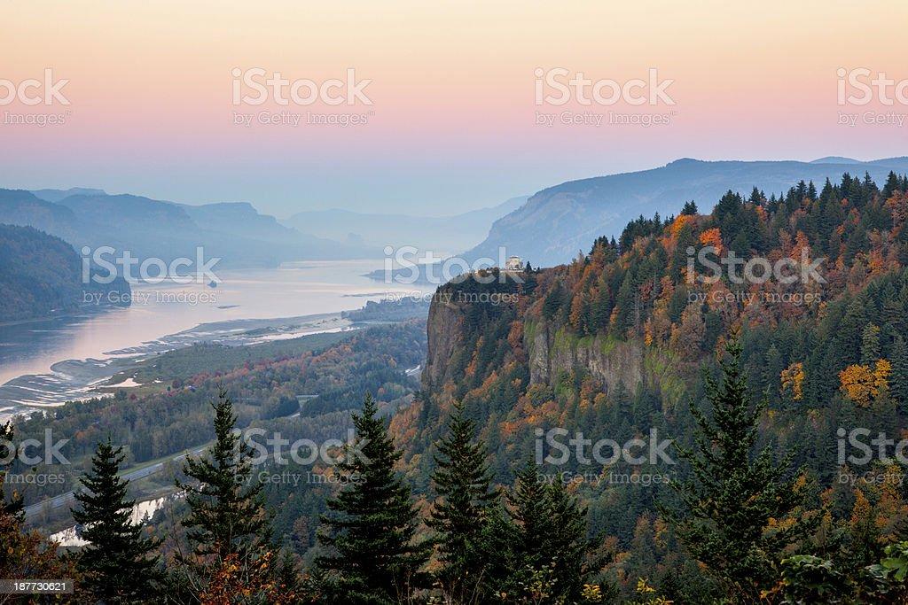 Columbia River Gorge Dusk. stock photo