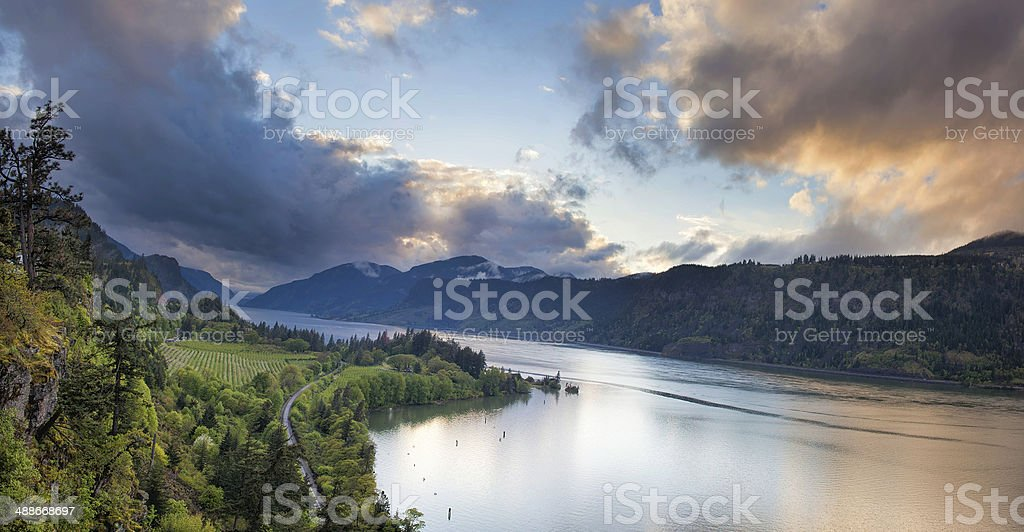Columbia River Gorge Hood River Stormy Sunset stock photo